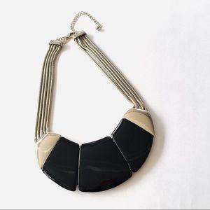 Chico's SilverTone Chain Black Enamel Bib Necklace